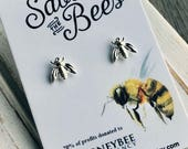 Sale. FREE SHIP. Save the bees. 20% of profits donated to The Honeybee Conservancy. 14k Gold or Sterling Silver Plated Bee Earrings. Post St
