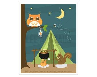 92A Owl Nursery Print - Campfire Squirrel and Owl Wall Art - Cabin Decor - Woodland Nursery Decor - Camping Decor - Woodland Wall Art