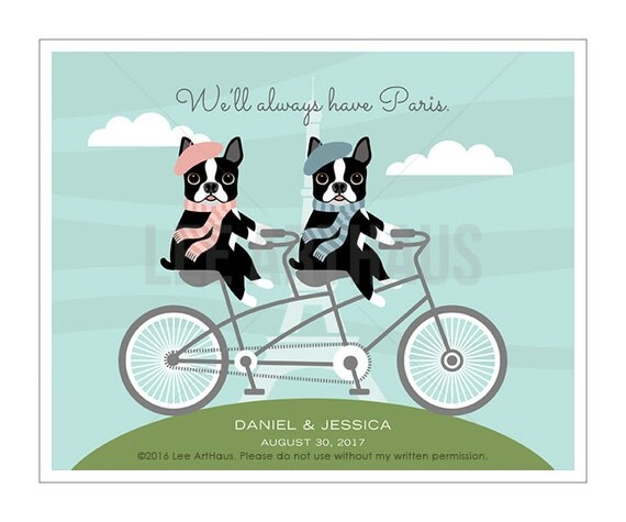 204P Art for Couples - We'll Always Have Paris Boston Terriers on Tandem Bicycle Wall Art - Bicycle Print - Boston Terrier Print - Dog Art