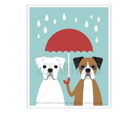 112D Dog Art Print - White and Brown Boxer with Red Umbrella Wall Art - Funny Dog Wall Art - Two Boxers Wall Art - Boxer Print - Dog Drawing