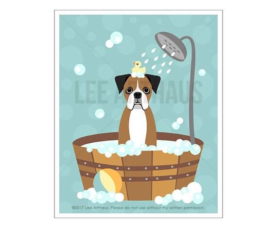 224D Dog Prints - Brown Boxer Dog in Wooden Tub Wall Art - Bathroom Art - Boxer Print - Bath Print - Dog Drawing - Dog Art - Pet Portrait