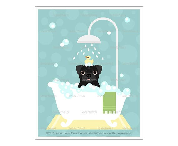 267D Pug Prints - Black Pug Dog in Bubble Bath Wall Art - Bathroom Prints - Pug Wall Art - Dog Wall Art - Pug Drawing - Dog Bath Decor