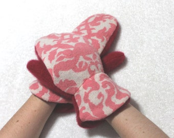 Pink/red felted merino/wool sweater mittens,women/teen gift,pink/red merino/wool mittens,fleece lining,Eco-Friendly merino wool mittens,