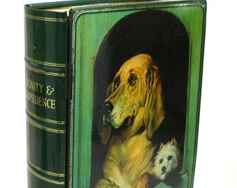 SCARCE 30's Tin Toy litho book bank, Dignity & Impudence dog art by Landseer.