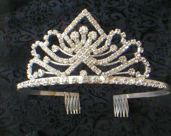 Vintage TIARA Clear Rhinestones Glamorous Crown