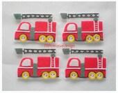 Fire Truck Felt Applique, feltie, felties, handmade felty embellishment supply, hairclip, hair bow, assessories, scrapbook, wholesale, bulk