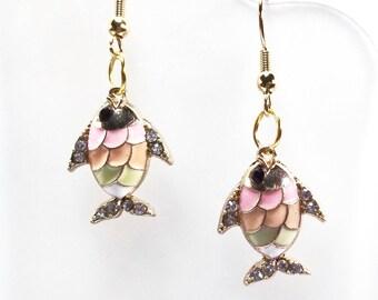 Gold Enamel Fish Rhinestone Earrings Jewelry