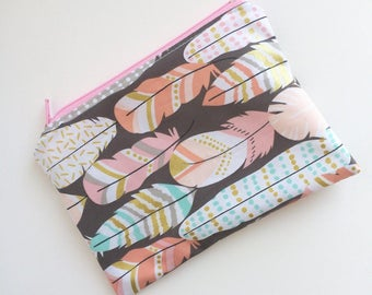 Feathers Snack Bag - Kids Snack Bag - Lunch Pouch - Bohemian -  Snack Sack - Lunch Sack - Boho - Zippered Snack Bag