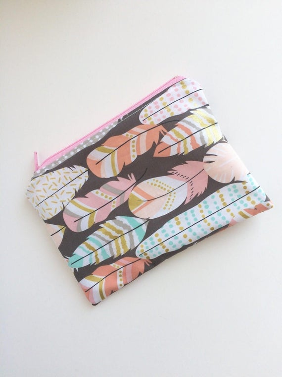 Feathers Snack Bag - Kids Snack Bag - Lunch Pouch - Bohemian -  Snack Sack - Lunch Bag - Boho - Zippered Snack Bag