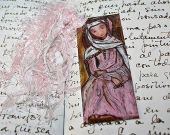 Mater Admirabilis -  Laminated Bookmark  Handmade - Original Art by FLOR LARIOS
