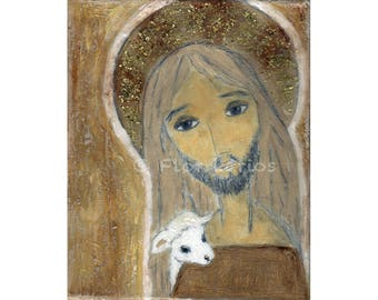 Good Shepherd -  Giclee print mounted on Wood (4 x 5 inches) Folk Art  by FLOR LARIOS