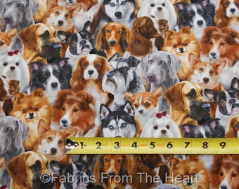 Dogs Doggie Puppy Pets Many Cute Breeds Collie Husky Spaniel BY YARD ES Fabric