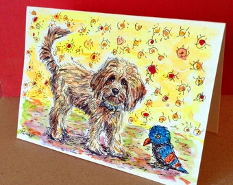 Cockapoo and His Blue Bird Toy, Cockapoo Card, Cockapoo Painting, Hand Painted Cards, Dog Painting, Original Watercolor, Handpainted Cards