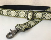 Purse Strap, Green Floral Custom Bag Strap, Guitar strap style