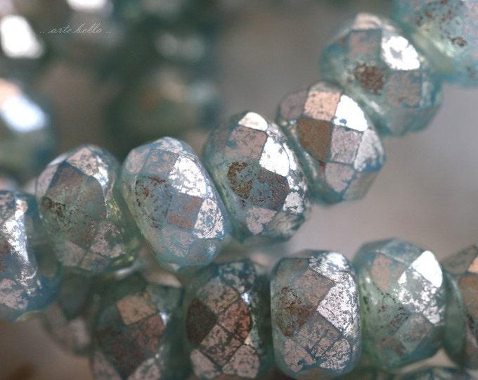BLUE MERCURY ROLLERS .. 10 Premium Czech Glass Large Hole Rondelle Beads 6x9mm (5589-10)