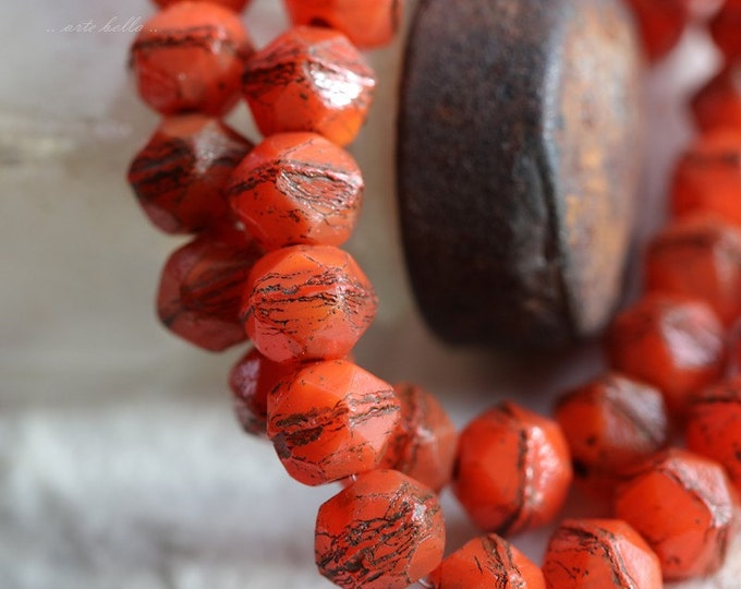 ORANGE NUGGETS .. 20 Picasso Czech Glass English Cut Beads 8mm (5654-st)