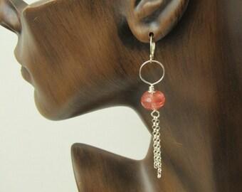 Cherry quartz earrings