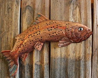 Jumping Rainbow Trout - copper metal salmonid freshwater game fish sculpture - wall hanging - turquoise-blue and salmon-pink patinas - OOAK