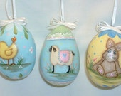 Set of 3 Gourd Easter Eggs -  Hand Painted - Lamb, Rabbit and Chick