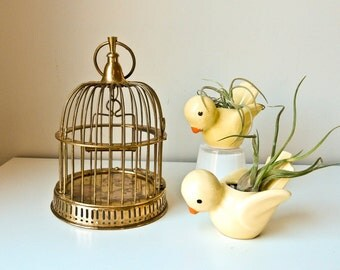 Vintage Bird Cage, Small Bird Cage, Brass Bird Cage
