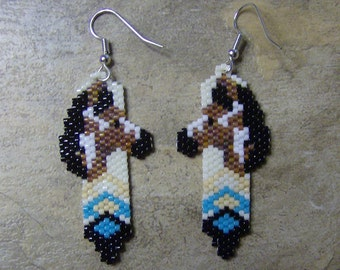 Horse Feather Earrings Hand Made Seed Beads