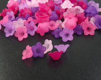 Acrylic Bead 100 Bell Daisy Lily Flower 5-Petal Frosted Mothers Day Bright colors PAIRS 13mm x 7mm (20 each of 5 colors) (1015luc13m9)