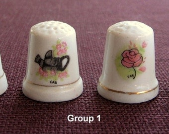 Thimbles Vintage Collectible Porcelain Groups of 4