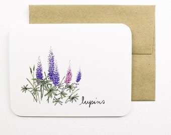 Lupins card with envelope | Lupin | Summer | Wild flower | Purple flowers | Greeting card | Thank you card | Wedding card