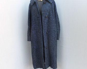 Vintage Coat,Hauson California, Navy Blue Coat, Blue w/Black Wool Full Length Boucle Coat, Large
