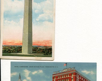 Set of 2 Washington D.C. Vintage Postcards - Washington Monument and The Commodore Hotel