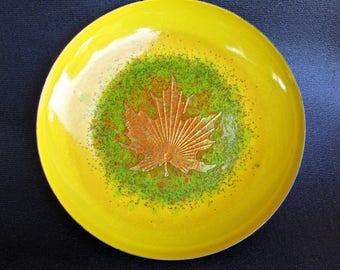 Epic Jules Perrier Vintage Enameled Steel Bowl, Quebec, Gold-Foil & Glitter Maple-Leaf, Shallow-Bowl w/ Cork Backing.
