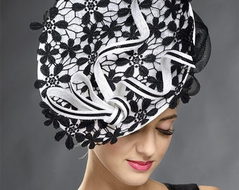 Black and white stunning hat for the weddings, Ascot, Derby, other special occaions- One of the kind designer hat!
