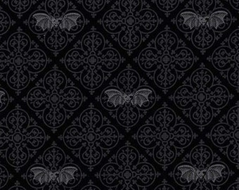 Three (3) Yards - Gothic Bats Fabric Michael Miller CX6638-GRAY-D