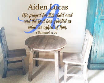 We prayed for this Child with Monogram and Name Wall Decal/Personalized Wall Words/Wall Transfer/Vinyl Lettering