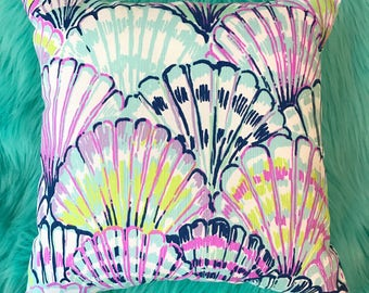 New Pillow made with Lilly Pulitzer Blue Oh Shello fabric