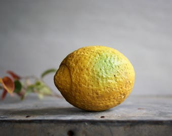 Vintage Italian Alabaster Lemon Stone Citrus Fruit Mid Century Kitchen Dining Room Decor