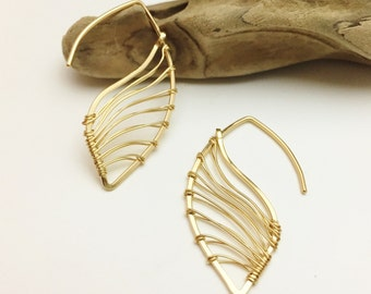Gold Filled Feather Threader Earrings - E437GF - handcrafted wire jewelry by cristys jewelry