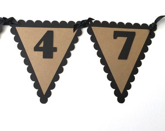 70th Birthday Pennant Banner - VINTAGE 1947, Black and Kraft Brown or Your choice of colors