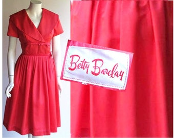 28 Waist, Vintage 1950s Dress / Betty Barclay Mad Men Style in Coral Red / 50s Dress Rockabilly Pin Up Bombshell Retro / size 6 or size 8