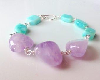 Lavender amethyst and blue opal bracelet, Purple bracelet , chunky bracelet.
