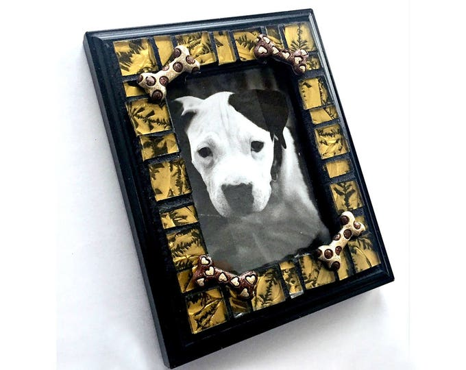 Dog Bone Mosaic Frame, Small Photo Frame, Glass Tile Mosaic Frame, Dog Lover Frame, Mini Mosaic Frame, Dog Bone Gold Black Mosaic Frame