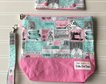 Sewing Themed Project bag and needle Cozy