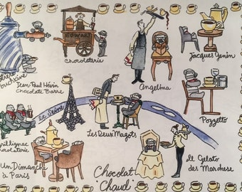 1 Paris Hot Chocolate Map shipped flat from Paris