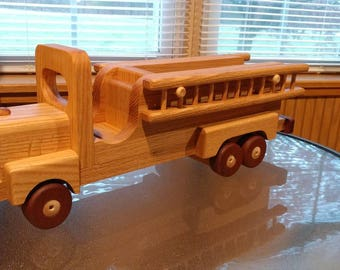 Wooden toy fire truck with Ladders  Oak and mahogany Heirloom Quality Beautifully hand finished with all natural beeswax