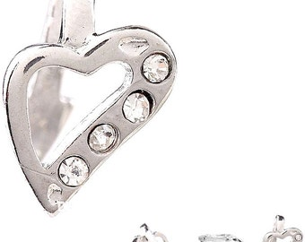 MERZIEs silver 12x10x8mm HEART Bail 2mm round crystals plated metal pinch pick finding - SHIPs from USA - Combined Shipping