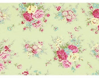Rosey by Tanya Whelan - Little Bouquet TW064 Green by the yard - Shabby Cottage Country chic
