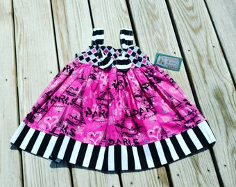 Pink Dress - Eiffel Tower Dress - Girls Paris Dress - Paris Themed Birthday Dress - Birthday Dress - Knot Dress -  Groovy Gurlz