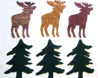 Set of 6 Lg Lodge Moose and Pine Tree Iron-on Cotton Fabric Appliques