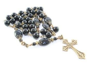 Anglican Rosary Prayer Beads, Black Onyx and Brass, for Men or Women