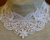 white applique necklace with white pearl beads  - trach stoma necklace